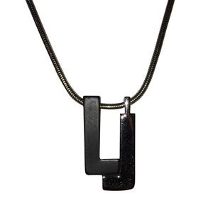 Lanvin Monogram Pendant Necklace with Black Enamel